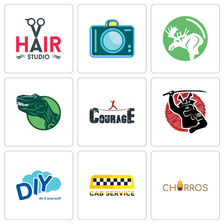Set Of 9 simple editable icons such as churros, cab service, diy, courage, dino, moose, dslr, hair studio, can be used for mobile, web