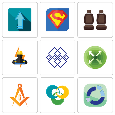 Set Of 9 simple editable icons such as sector, triskelion, masonic, extend, generic, electrician, car seat, s, upgrade, can be used for mobile, web