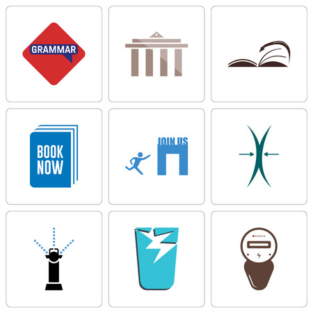 Set Of 9 simple editable icons such as electric meter, broken glass, sprinkler, elastic, join us, book now, page turn, municipality, grammar, can be used for mobile, web