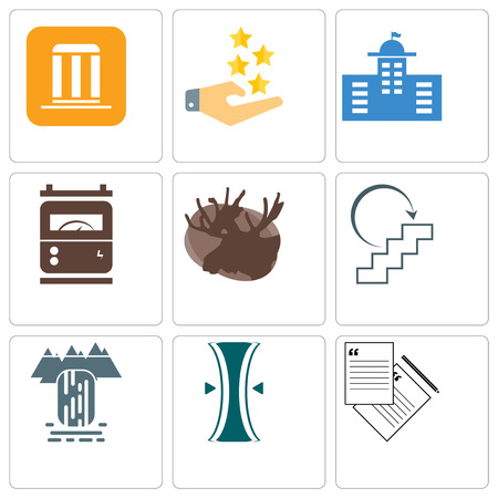 Set Of 9 simple editable icons such as request a quote, elastic, waterfall, next steps, moose, electric meter, municipal, customer experience, municipality, can be used for mobile, web