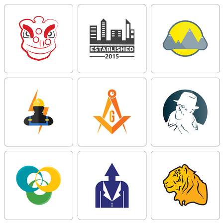 Set Of 9 simple editable icons such as tiger, personal development, triskelion, free detective, masonic, electrician, montain, established, lion dance, can be used for mobile, web