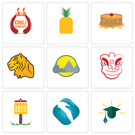 Set Of 9 simple editable icons such as education, albatross, yard sale, lion dance, montain, tiger, pancake, pinapple, chili cook off, can be used for mobile, web