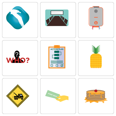 Set Of 9 simple editable icons such as pancake, money back guarantee, towing, pinapple, action plan, mystery person, boiler, conference room, albatross, can be used for mobile, web