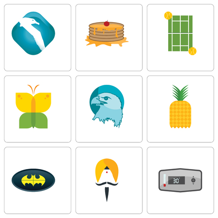 Set Of 9 simple editable icons such as thermostat, sikh, bat, pinapple, eagle head, buterfly, tennis court, pancake, albatross, can be used for mobile, web