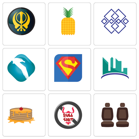 Set Of 9 simple editable icons such as car seat, no bullshit, pancake, contruction, s, albatross, generic, pinapple, khanda, can be used for mobile, web