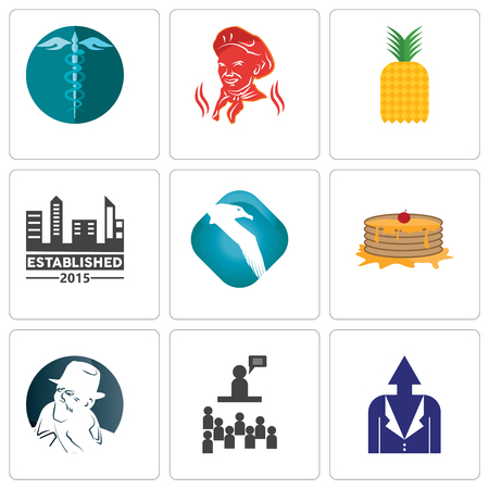 Set Of 9 simple editable icons such as personal development, public relations, free detective, pancake, albatross, established, pinapple, hipaa, can be used for mobile, web Illustration