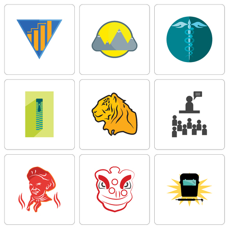 Set Of 9 simple editable icons such as welding, lion dance, public relations, tiger, zipper, hipaa, montain, yield, can be used for mobile, web