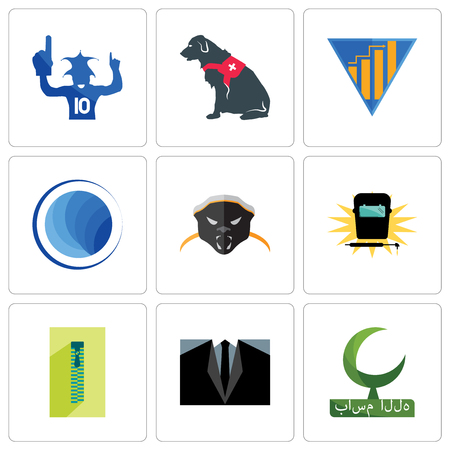 Set Of 9 simple editable icons such as bismillah, dress code, zipper, welding, honey badger, globe, yield, service dog, sports fan, can be used for mobile, web