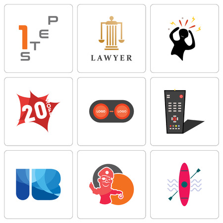 Set Of 9 simple editable icons such as kayak, pirate mascot, ib, tv remote, convert, 20% off, panic, lawyer, step 1, can be used for mobile, web