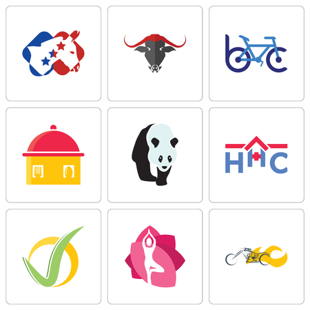 Set Of 9 simple editable icons such as chopper, yoga studio, checkmark, home health care, homemade food, bike club, democrat, can be used for mobile, web Illustration