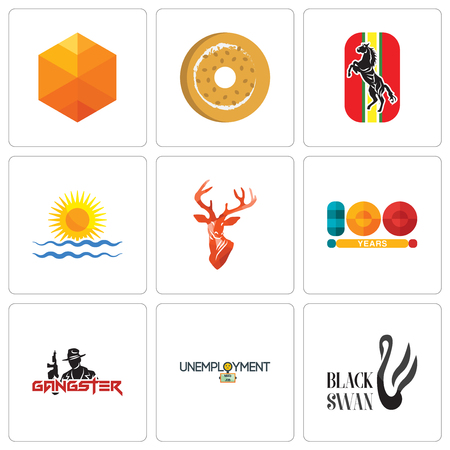 Set Of 9 simple editable icons such as black swan, unemployment, gangster, 100 year, stag head, rising sun, horse, bagel, cubic, can be used for mobile, web