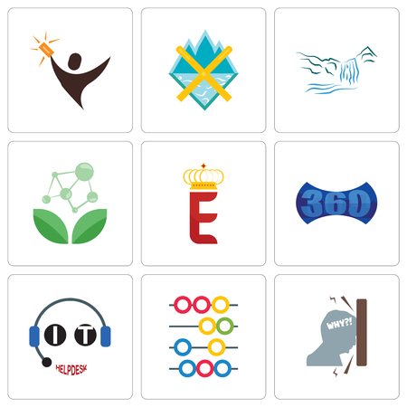 Set Of 9 simple editable icons such as frustration, abacus, it helpdesk, 360 image, e crown, antioxidant, waterfall, crossed skis, lucky draw, can be used for mobile, web