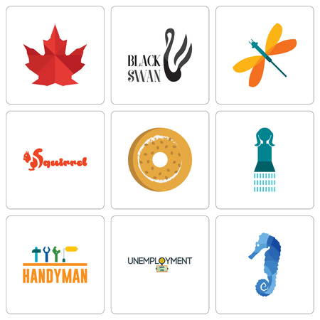 Set Of 9 simple editable icons such as sea horse, unemployment, handyman, girls bathroom, bagel, squirrel, dragonfly, black swan, canada leaf, can be used for mobile, web
