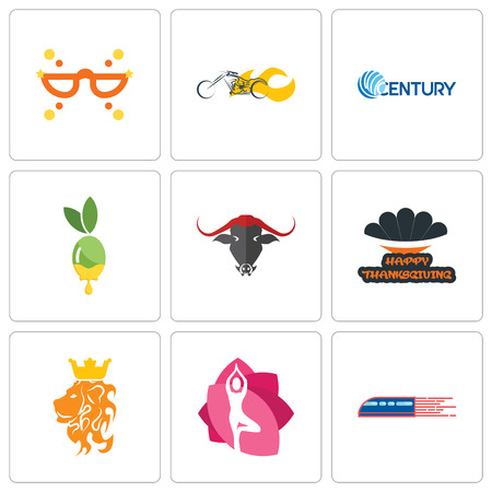 Set Of 9 simple editable icons such as railway, yoga studio, royal lion, happy thanksgiving, olive oil, century, chopper, masquerade, can be used for mobile, web