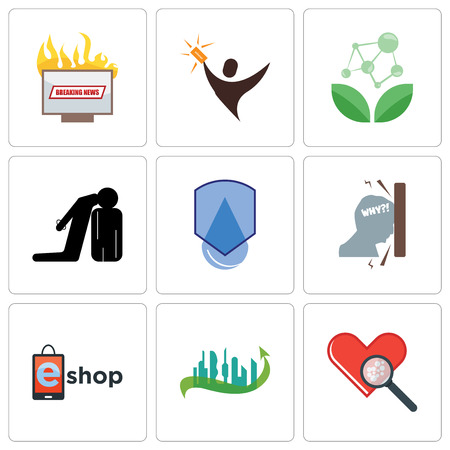 Set Of 9 simple editable icons such as cholesterol, future city, eshop, frustration, waterproof, execution, antioxidant, lucky draw, breaking news, can be used for mobile, web