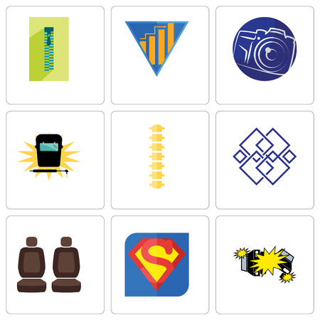 Set Of 9 simple editable icons such as car crash, s, seat, generic, spine, welding, photography camera, yield, zipper, can be used for mobile, web