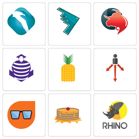 Set Of 9 simple editable icons such as rhino, pancake, nerd glasses, approach, pinapple, purple cobras, taurus professional, stealth bomber, albatross, can be used for mobile, web