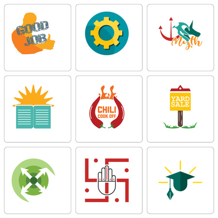 Set Of 9 simple editable icons such as education, jain, extend, yard sale, chili cook off, sunday school, myth, transparent gear, good job, can be used for mobile, web