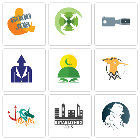 Set Of 9 simple editable icons such as free detective, established, myth, hoopoe, quran, personal development, footage, extend, good job, can be used for mobile, web Ilustrace