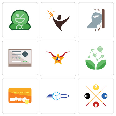 Set Of 9 simple editable icons such as snooker, dispatch, scratch card, antioxidant, texas star, online form, frustration, lucky draw, pharmacy, can be used for mobile, web