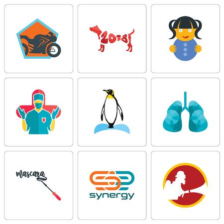 Set von 9 einfachen bearbeitbaren Symbolen wie Synergie, Mascara, Lunge, Pinguin, Chirurg, Puppe, Jahr des Hundes, Motorradgeschäft, kann für Handy, Web verwendet werden