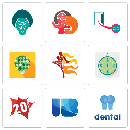 Set Of 9 simple editable icons such as dental, ib, 20% off, estimate, muay thai, pine cone, cash on delivery, pirate mascot, baboon, can be used for mobile, web