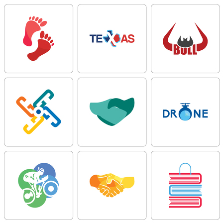 Set Of 9 simple editable icons such as book shop, hand shake, cyclist, shaking, generic, bull horn, texas, foot print, can be used for mobile, web Illustration