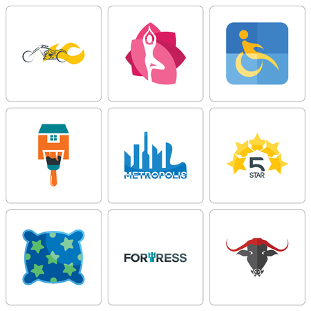 Set Of 9 simple editable icons such as fortress, pillow, 5 star, metropolis, home paint, disability, yoga studio, chopper, can be used for mobile, web Illustration