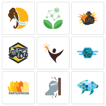 Set Of 9 simple editable icons such as sea turtle, frustration, participation, semi truck, lucky draw, dump outlaw, antioxidant, mammoth, can be used for mobile, web