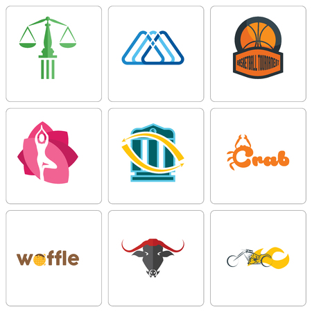 Set Of 9 simple editable icons such as chopper, waffle, crab, bank transfer, yoga studio, basketball tournament, 3 triangle, scales of justice, can be used for mobile, web Illustration