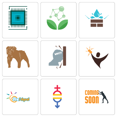 Set Of 9 simple editable icons such as soon, gender equality, preschool, lucky draw, frustration, bulldog, water resistant, antioxidant, sem, can be used for mobile, web