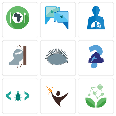 Set Of 9 simple editable icons such as antioxidant, lucky draw, software bug, scratching head, hedgehog, frustration, inflammation, video call, hunger, can be used for mobile, web