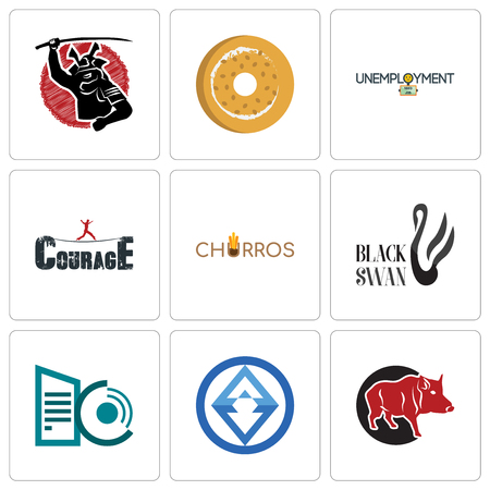 Set Of 9 simple editable icons such as boar, 3, datacenter, black swan, churros, courage, unemployment, bagel, , can be used for mobile, web