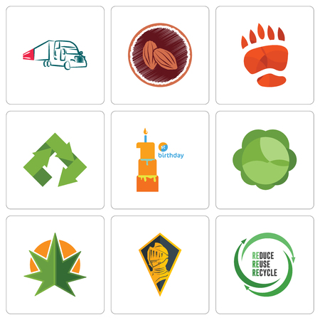 Set Of 9 simple editable icons such as uce reuse recycle, knight head, weed leaf, cabbage, first birthday, bear paw, cacao, truck company, can be used for mobile, web Illustration