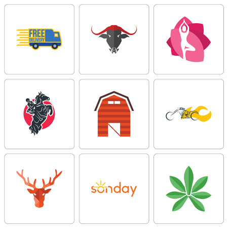 Set Of 9 simple editable icons such as pot leaf, sunday, deer head, chopper, barn, equestrian, yoga studio, free delivery, can be used for mobile, web Stock Vector - 102297921