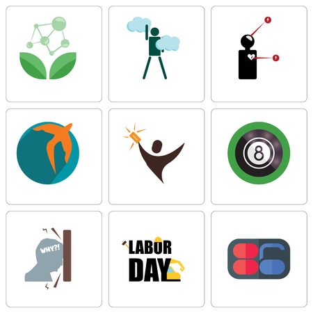 Set Of 9 simple editable icons such as 86, labor day, frustration, 8 ball pool, lucky draw, swift, symptoms, ambition, antioxidant, can be used for mobile, web Illustration
