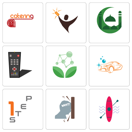 Set Of 9 simple editable icons such as kayak, frustration, step 1, carwash, antioxidant, tv remote, masjid, lucky draw, catering, can be used for mobile, web