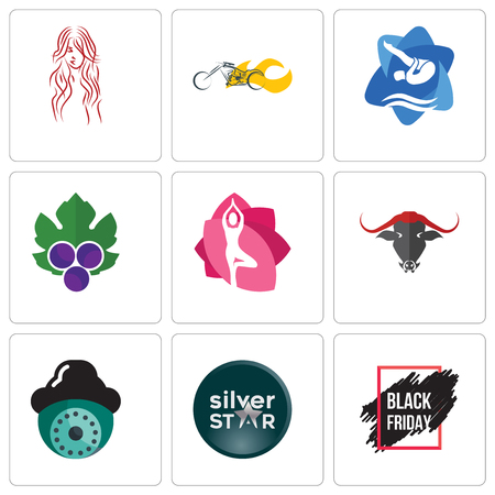 Set Of 9 simple editable icons such as black friday sale, silver star, security camera, yoga studio, grape leaves, swim and dive, chopper, long hair, can be used for mobile, web