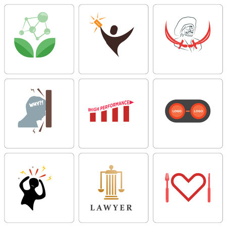 Set Of 9 simple editable icons such as appetite, lawyer, panic, convert, high performance, frustration, pirate, lucky draw, antioxidant, can be used for mobile, web
