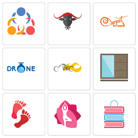 Set Of 9 simple editable icons such as book shop, yoga studio, foot print, wardrobe, chopper, carpet, 3 people, can be used for mobile, web