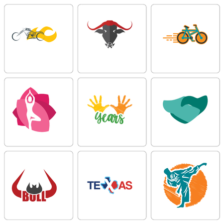 Set Of 9 simple editable icons such as martial arts, texas, bull horn, hand shaking, 10 years, yoga studio, bike shop, chopper, can be used for mobile, web Illustration