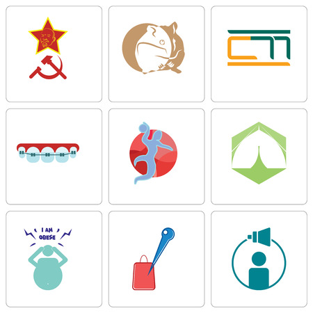 Set Of 9 simple editable icons such as campaign management, store locator, obesity, marquee, handball, orthodontist, hamster, communism, can be used for mobile, web Illustration