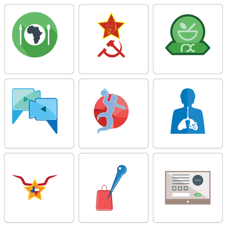 Set Of 9 simple editable icons such as online form, store locator, texas star, inflammation, handball, video call, pharmacy, communism, hunger, can be used for mobile, web