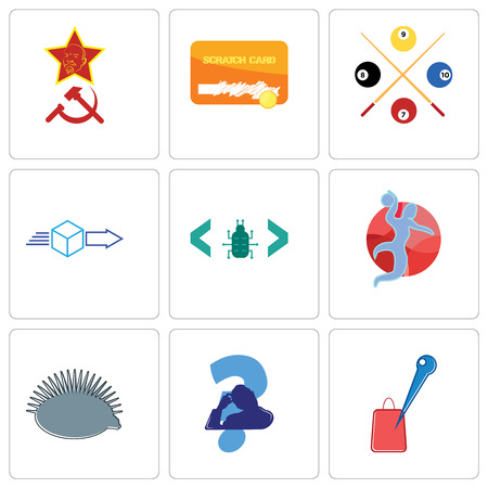 Set Of 9 simple editable icons such as store locator, scratching head, hedgehog, handball, software bug, dispatch, snooker, scratch card, communism, can be used for mobile, web