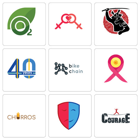 Set Of 9 simple editable icons such as courage, drama, churros, breast cancer ribbon, bike chain, 40 years, lesbian, oxygen, can be used for mobile, web