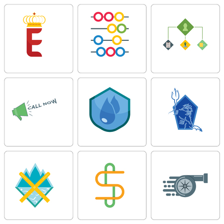 Set Of 9 simple editable icons such as turbo, double s, crossed skis, neptune, water resistant, call now, order management, abacus, e crown, can be used for mobile, web Illusztráció