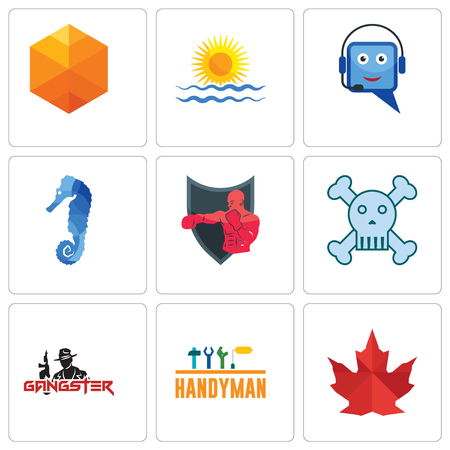 Set Of 9 simple editable icons such as canada leaf, handyman, gangster, skull and crossbones, boxing club, sea horse, helpdesk, rising sun, cubic, can be used for mobile, web