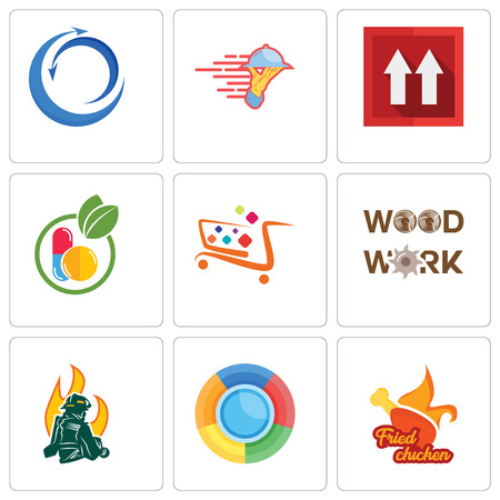Set Of 9 simple editable icons such as fried chicken, firemen, woodwork, super market, homeopathy, this side up, catering services, import export, can be used for mobile, web