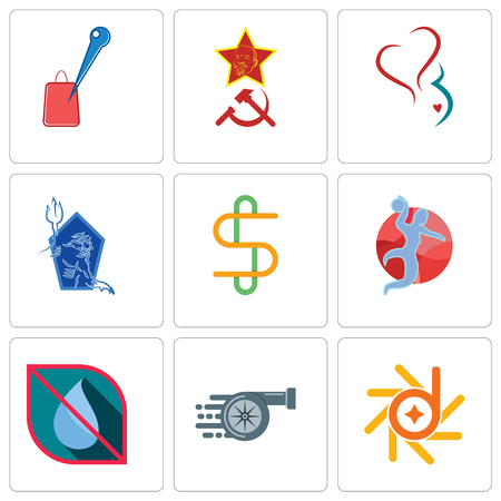 Set Of 9 simple editable icons such as d-star, turbo, no water, handball, double s, neptune, gynecology, communism, store locator, can be used for mobile, web 일러스트