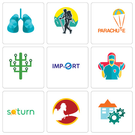 Set Of 9 simple editable icons such as facility, saturn, surgeon, import, digital tree, parachute, trekking, lungs, can be used for mobile, web